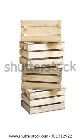 wooden boxes stacked on top of each other - stock photo