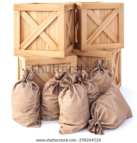 wooden boxes with bags. isolated on white background. - stock photo