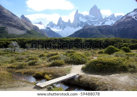 Wooden bridge and footpath in national park near El Chalten, Argentina - stock photo