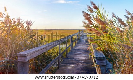 wooden bridge leading into the lake with a beautiful sunset - stock photo