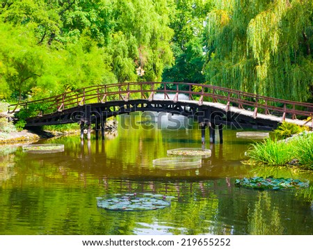 Wooden bridge over the lake in japaneese style garden - stock photo