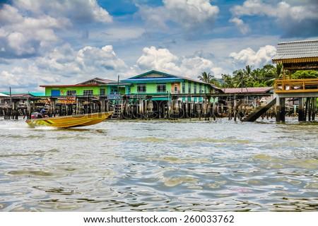 Wooden Bridges and Colorful Houses of Water Village-Bandar Seri Begawan, Brunei - stock photo