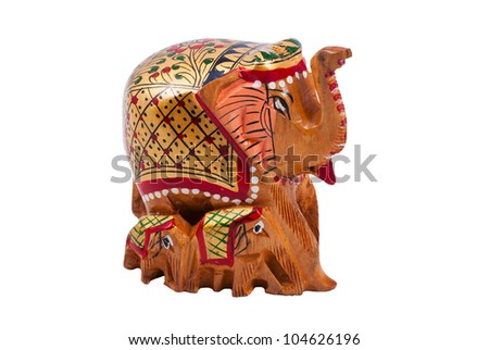 Wooden brown elephant figurine isolated on white - stock photo