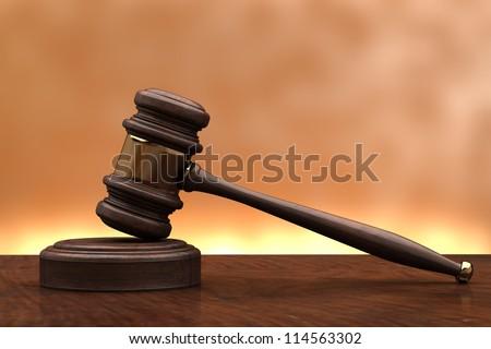 wooden brown gavel and soundboard isolated on background 3d - stock photo