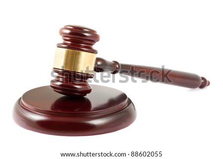 Wooden brown gavel isolated on white background