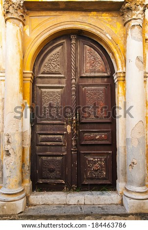 Wooden Brown Old Door of Greek Island
