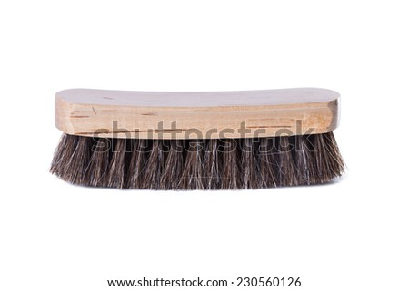 Wooden brush for shoes in profile on a white background - stock photo