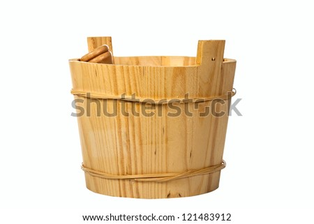 wooden bucket for making face masks. Isolated on white background