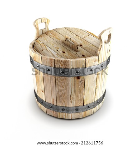 Wooden bucket isolated on a white background. 3d render image. - stock photo