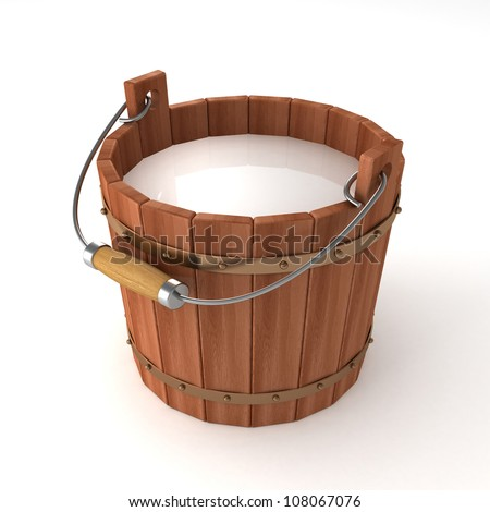 wooden bucket with milk on white background - stock photo