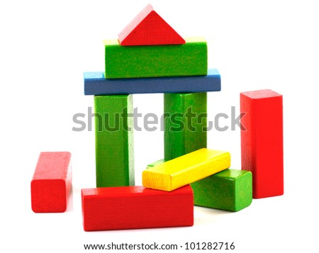 Wooden building blocks.