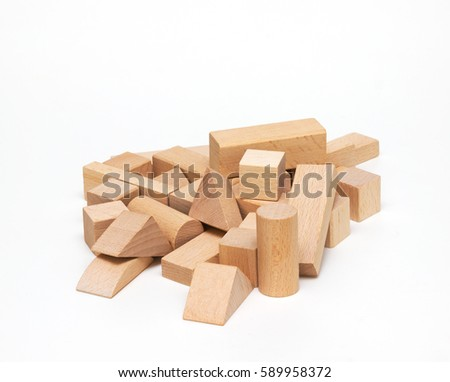 Wooden building blocks isolated