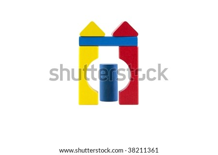 Wooden Building Blocks isolated on a white background.