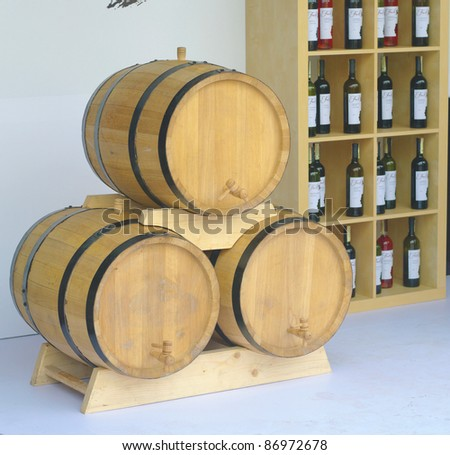 Wooden butts for wine - stock photo