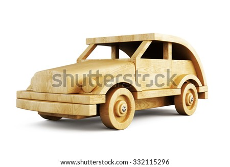 Wooden car close-up isolated on white background. 3d illustration. - stock photo