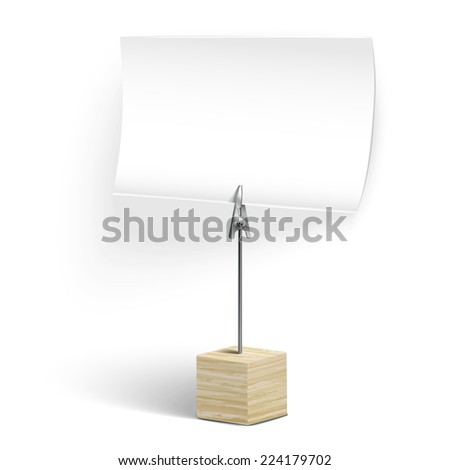 wooden card holder isolated on white background - stock photo