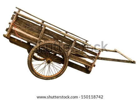 Wooden cart on white background - stock photo