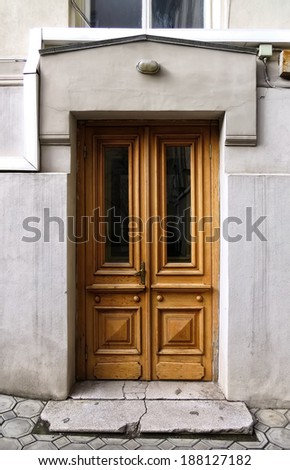 Wooden carved door of Odessa National Research M. Gorky Library. Ukraine, Odessa - 19 april 2014 - stock photo