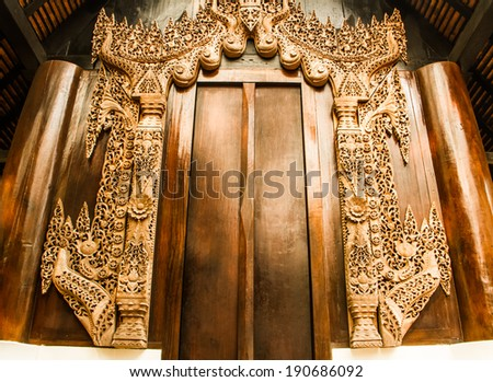 Wooden carved in museum of art in Chiang rai,Thailand.