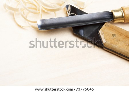 Wooden carving tools - stock photo