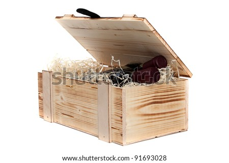 wooden case with wine - stock photo