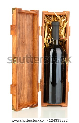 Wooden case with wine bottle isolated on white - stock photo