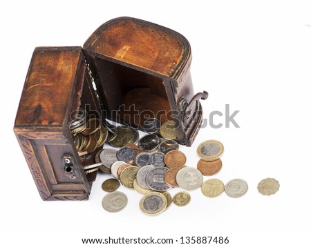 Wooden casket full of coins thai