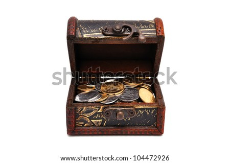 wooden casket with coins  with white background