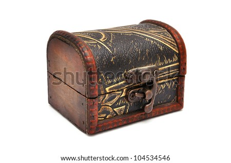 wooden casket with white background