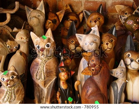 Wooden cats - stock photo