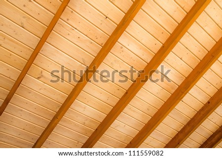 Wooden ceiling background. - stock photo