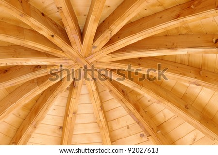 wooden ceiling of a traditional church in Moldavia, Romania - stock photo