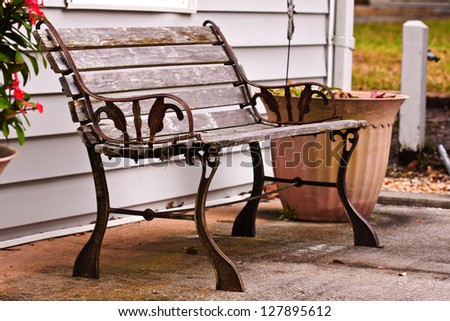 Wooden chair in the park outdoors