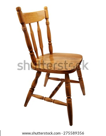 wooden chair isolated on white - stock photo