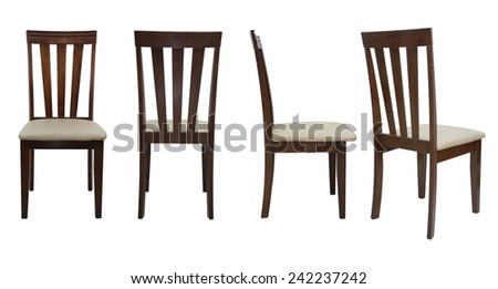 wooden chair side. wooden chair isolated on white background, file includes a excellent clipping path side