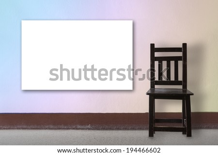 Wooden Chair vintage with board  - stock photo