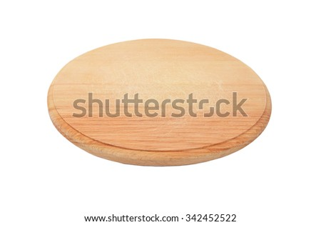 Wooden cheese board, isolated on white background