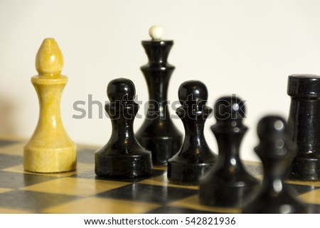 wooden chess pieces, black and white, pawn, officer, knight, Queen and Bishop on the chess Board, Board game