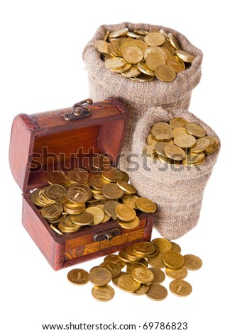 Wooden chest and two bags filled with coins. Isolated on a white background - stock photo
