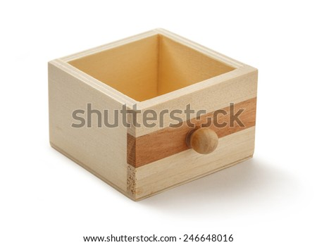 Wooden chest drawer box on white background - stock photo