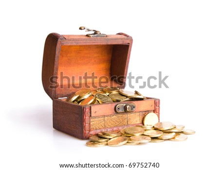 Wooden chest  filled with coins. Isolated on a white background - stock photo