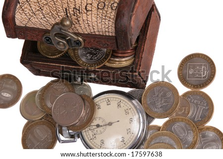 Wooden chest full of coins and old watch.