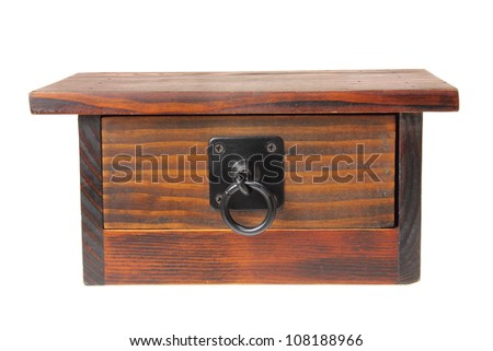 Wooden Chest on White Background - stock photo