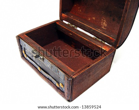 Wooden chest wide opened - stock photo