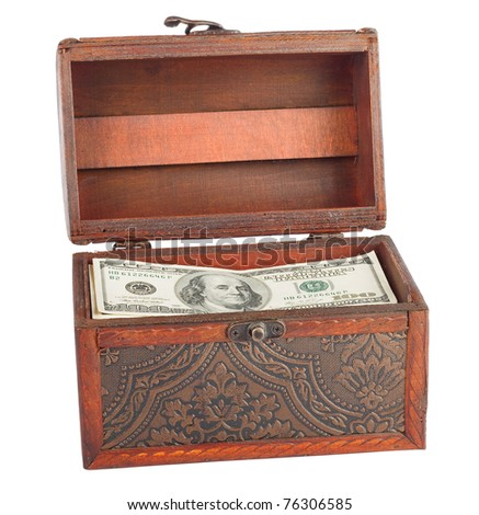 Wooden chest with dollars isolated on white background. - stock photo
