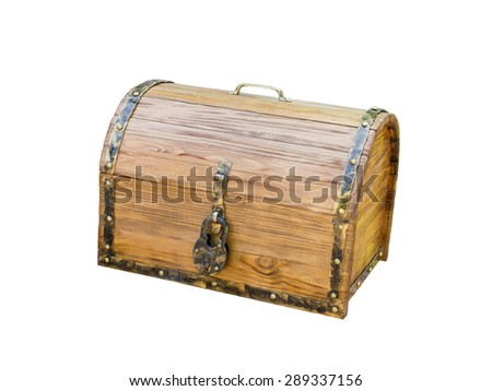 wooden chest with lock in antique style isolated on white background