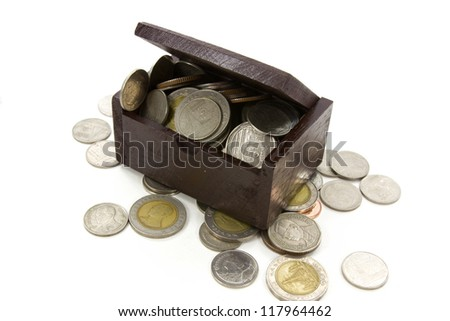wooden chest withcoins