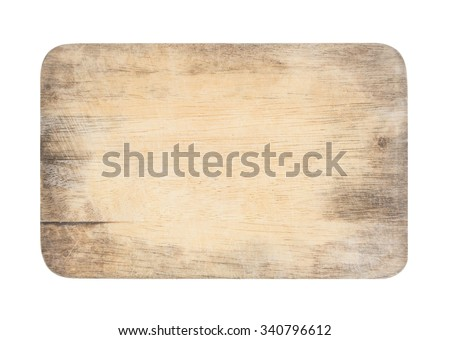 wooden chopping board with scratched surface on isolated background with clipping path (ready for make selection) - stock photo