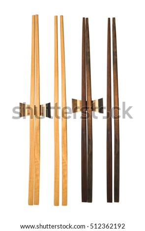 Wooden chopsticks on white background