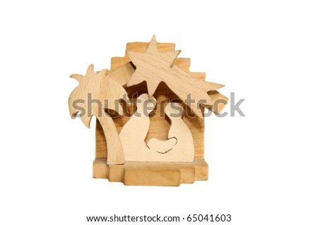 Wooden Christmas crib of Holy Family - Nativity scene - stock photo